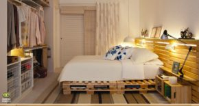 Large bed with surroundings of pallets