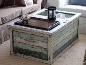 Wooden box coffee table with glass cover