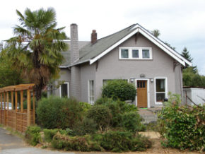Gray and attractive stucco-style house