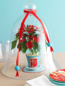The variety in color presented by the Christmas centerpieces is enchanting.