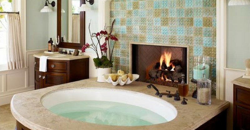 Bathroom with fireplace wooden tub bath