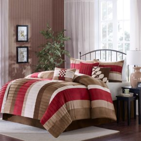 taupe red bedroom decoration