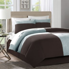taupe baby blue bedroom decoration