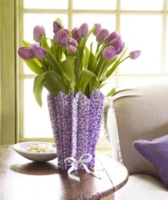 vase and tulips