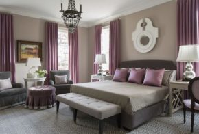 taupe purple bedroom color combination