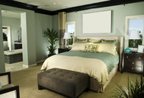 taupe green bedroom decoration