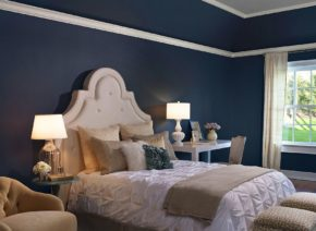 taupe navy blue bedroom decoration