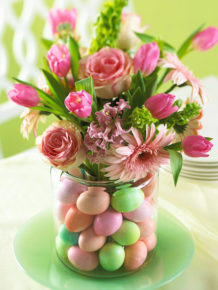 flowers and painted eggs
