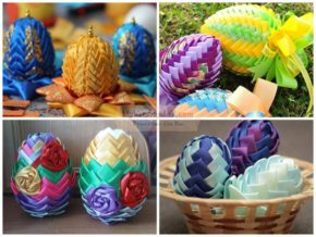 Decorating Easter Eggs with ribbons