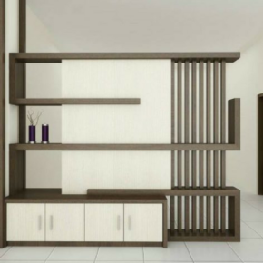 An inviting wooden shelf cabinet