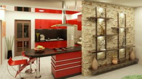 stone wall and shelf as a room divider