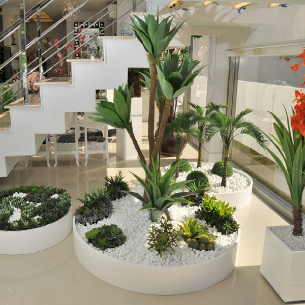 Home Decoration Using Trees Serving As Flowers And The Gem Stones