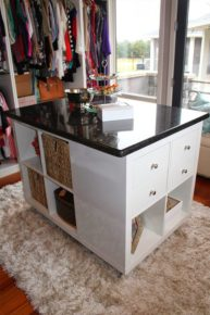 The cabinetry in the closet