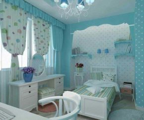 A teen room in light blue and white
