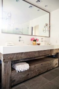 Bathroom with wooden sink