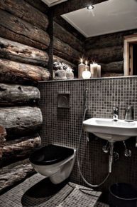 Bathroom with wooden forest decor