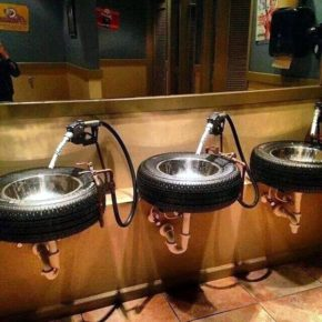 A bathroom inspired by cars