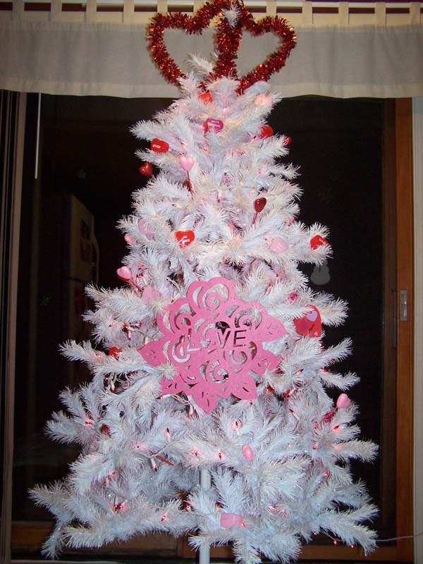 Valentine Tree Decorated with Items from the Dollar Tree