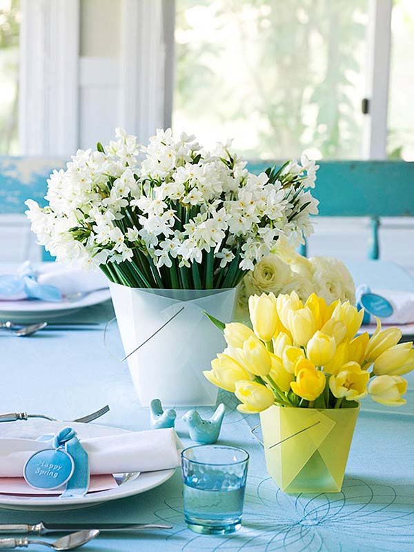 White Blue and Yellow Easter Centerpiece