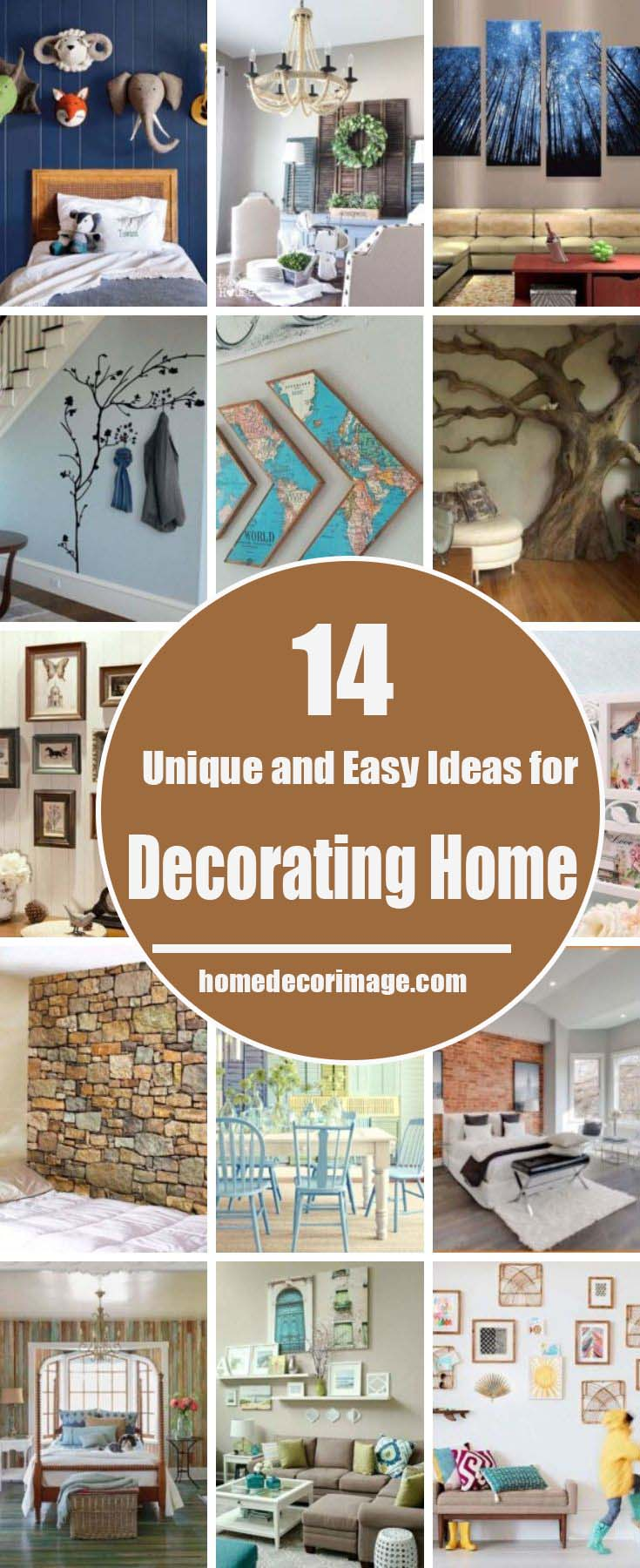 Ideas on shaping the walls with decorative wallpapers - wood, brick and stone textured, with paintings, glass items, flowers and other accessories. #home #decor #homedecorimage