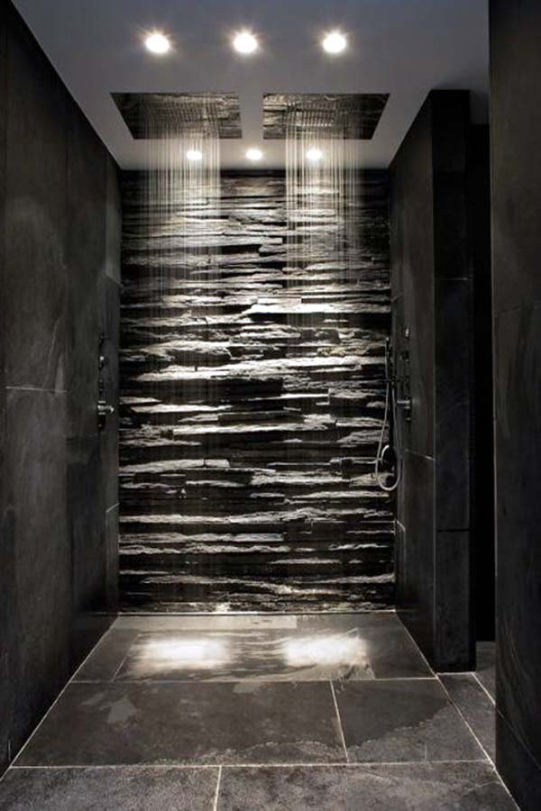 Decorative Wall Surrounded by a Darkened Bathroom Block #bathroom #decor #homedecorimage