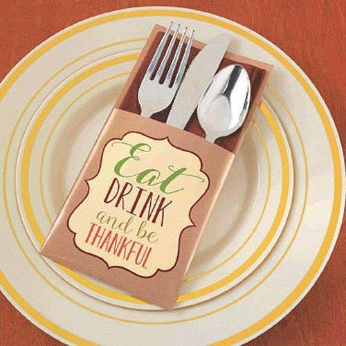 Eat Drink and Be Thankful Cutlery Holders #Thanksgiving Day #table #decor #homedecorimage