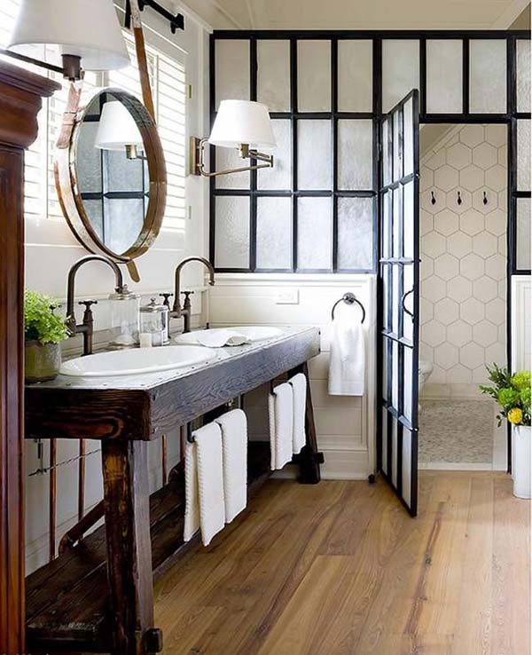 Glass Wood and Metal in the Bathroom #bathroom #decor #homedecorimage