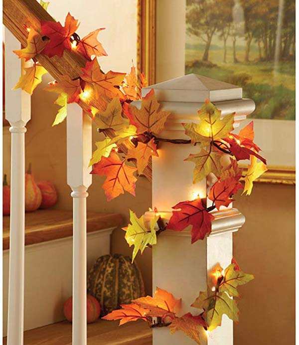 Maple Leaves Garland #Thanksgiving Day #decoration #homedecorimage
