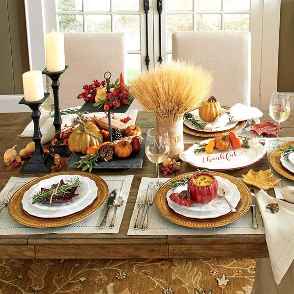 Rich Autumn Harvesting #Thanksgiving Day #table #decor #homedecorimage