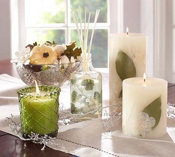 Thanksgiving Décor Idea With Green Candle #Thanksgiving Day #table #decor #homedecorimage