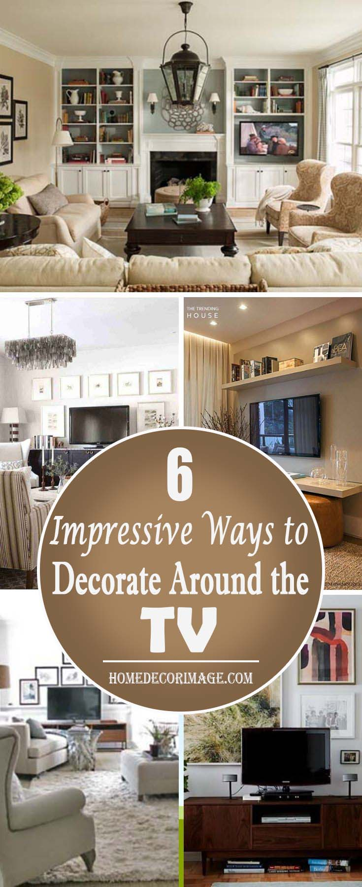 Ways to decorate around the TV. Establish a special media corner and its position among other furniture. #TV decor #home decor #homedecorimage