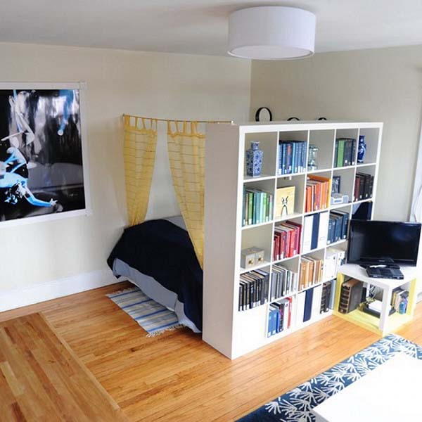 A Bookshelf that Provides Room to the Person #small bedroom #bedroom #interior #homedecorimage
