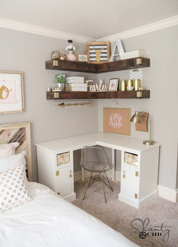 A Corner Desk Cabinet #small bedroom #bedroom #interior #homedecorimage