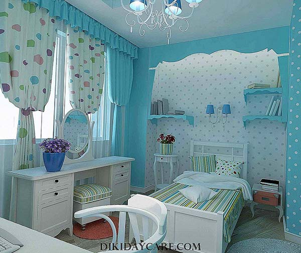 A Room in Light Blue and White #teen rooms #decoration #homedecorimage