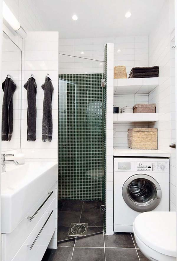 It Can Be Placed in an Open Cabinet #bathroom #washing machine #homedecorimage