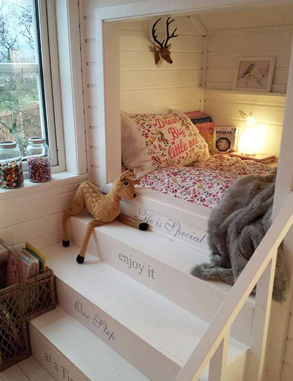 Teen Bed with Stairs #teen rooms #decoration #homedecorimage