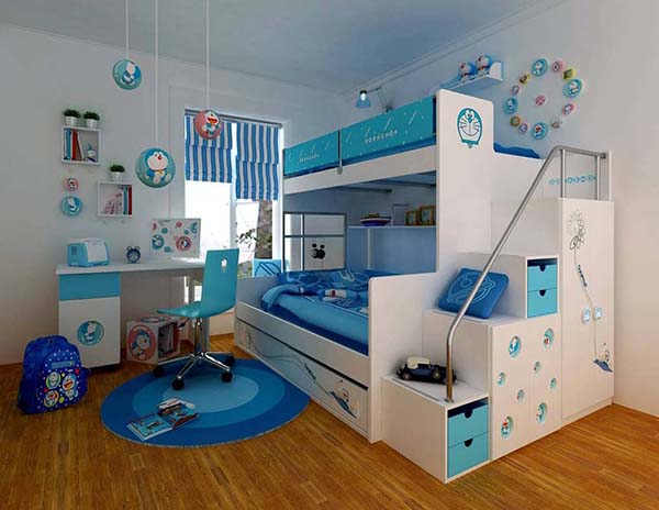Kid's Room in Blue and White #kid's room #interior #homedecorimage