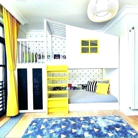 Kid's  Room in Yellow, White and Blue #kid's room #interior #homedecorimage
