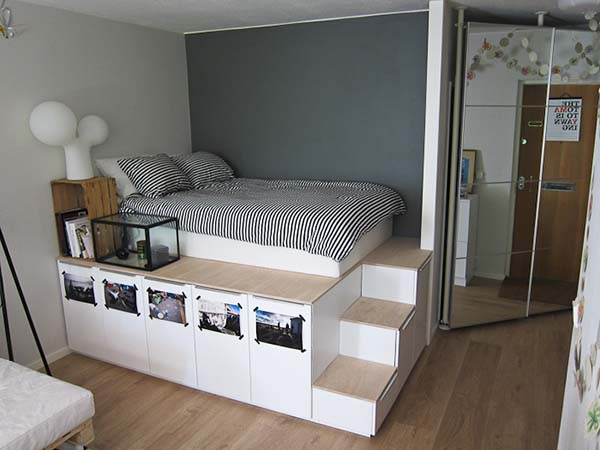Lots of Cabinetry under the Bed #small bedroom #bedroom #interior #homedecorimage
