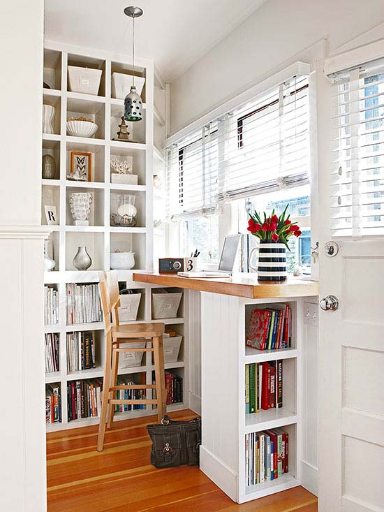 Open Cabinets with Floor to Ceiling Shelves #small bedroom #bedroom #interior #homedecorimage