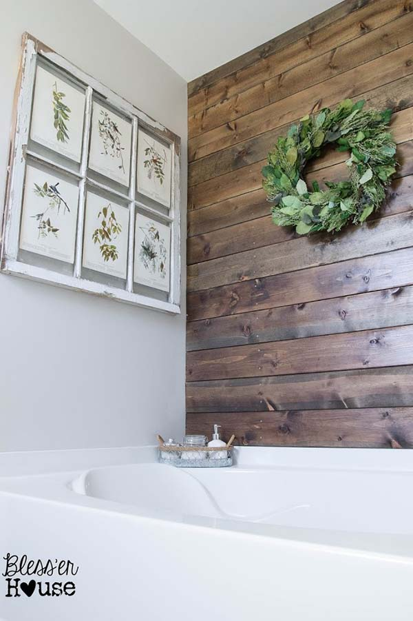 over the sink with wooden elements