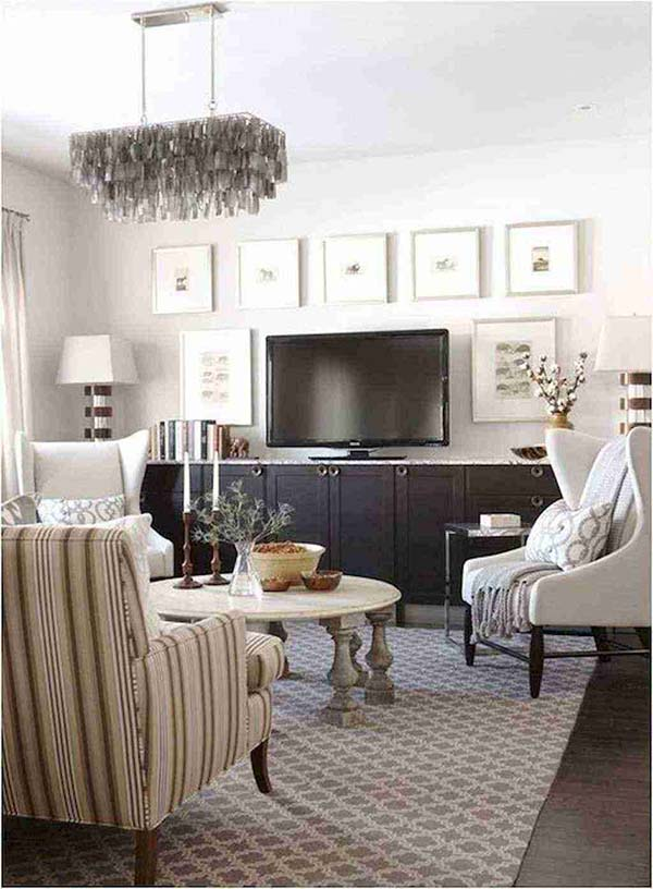 TV Positioned on a Special Cabinet #TV decor #home decor #homedecorimage