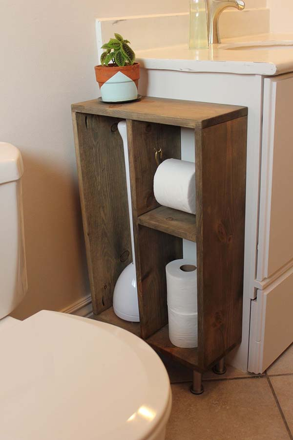 small shelf is a convenient addition to the bathroom items