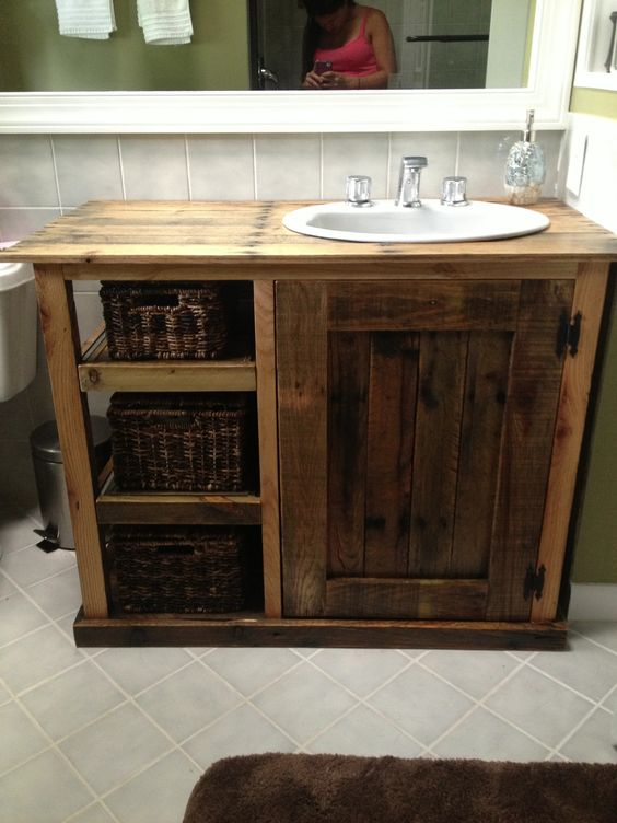 table and a solid wood cabinet