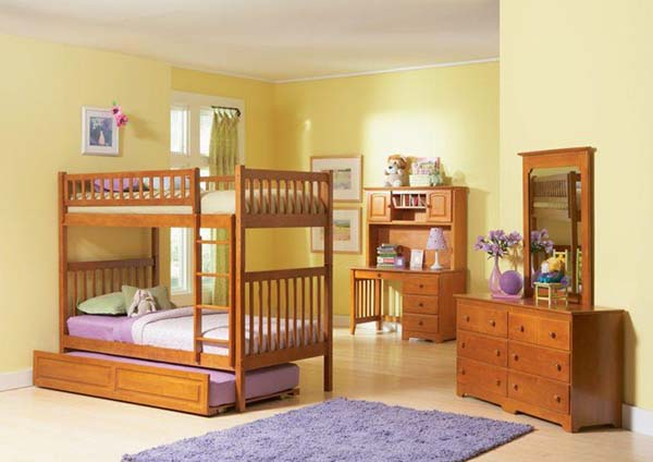 Yellow Blue and Red Mahogany Wood Kid's Room #kid's room #interior #homedecorimage