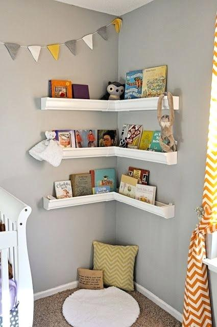 A Corner for Children's Books #corner wall shelves #bedroom #homedecorimage