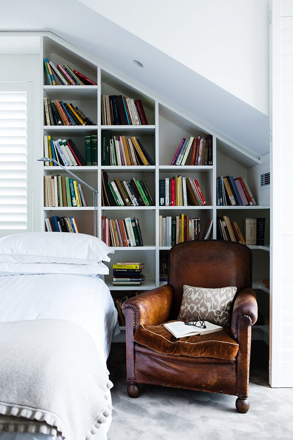 Angled Opened Bookcase #corner wall shelves #bedroom #homedecorimage