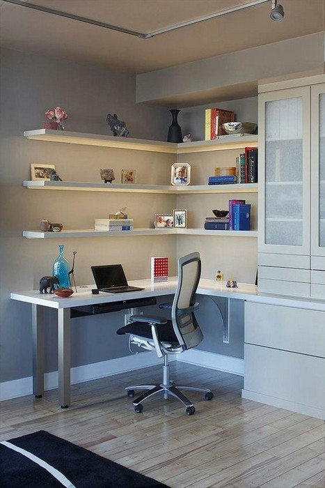 Comfortable Work Area #corner wall shelves #bedroom #homedecorimage