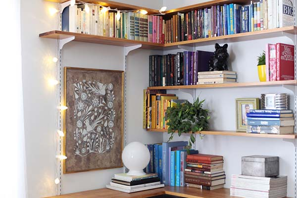 Corner Bookcase #corner wall shelves #bedroom #homedecorimage