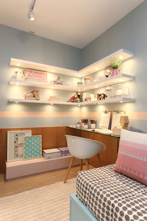 Lighting of the Work Area #corner wall shelves #bedroom #homedecorimage
